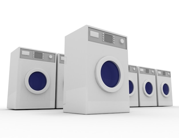 3d-wasmachine concept. 3d-gerenderde afbeelding