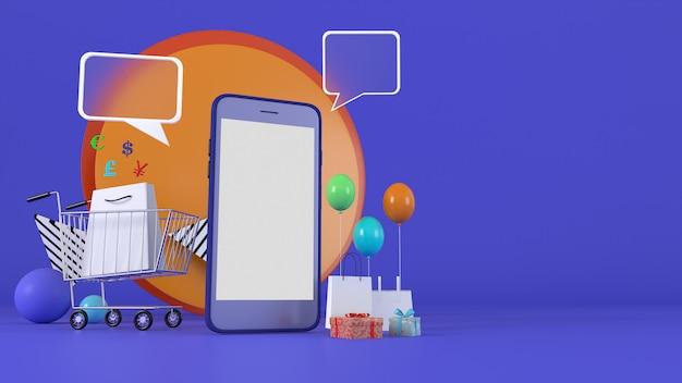 3d-weergave. 3d illustratie smartphone om inhoud in te voeren, omringd door boodschappentassen, winkelwagentjes