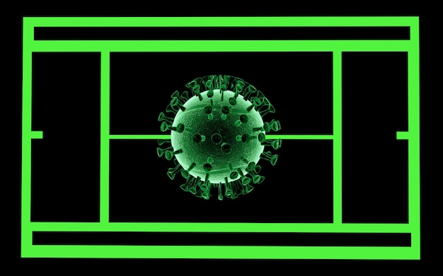 3d-weergave. 3d illustratie. tennis gestopt .world coronavirus pandemie. covid19