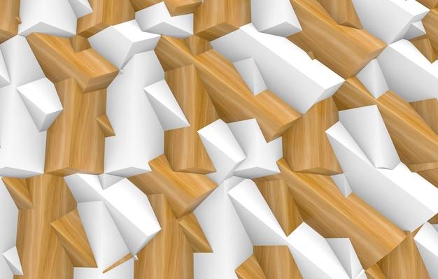3d-weergave abstract willekeurig wit en hout onvormig geometrisch ontwerp muur achtergrond.