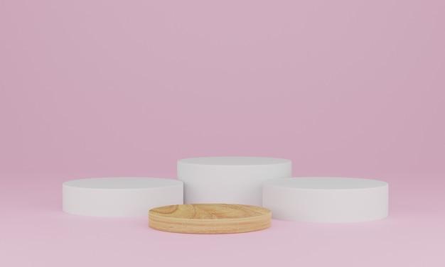 3d-weergave. abstracte minimale scène met geometrisch. houten podium op roze achtergrond. voetstuk of platform voor weergave, productpresentatie, mock-up, toon cosmetisch product