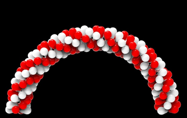 3d-weergave afwisselend witte en rode ballonnen curve poort met uitknippad geïsoleerd op zwart.