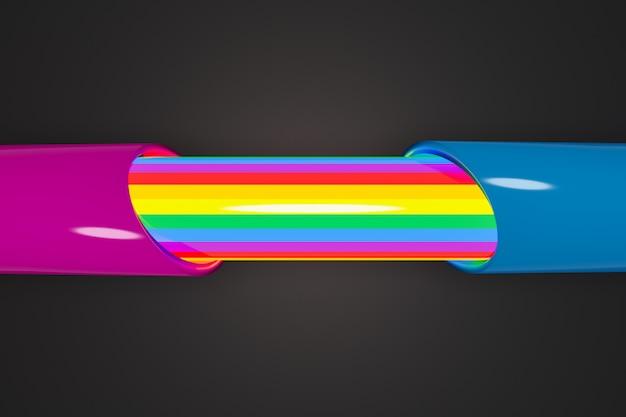 3d-weergave. close-up van een draad verdeeld in twee roze en blauwe helften, en in de draad is lgbt-kleur.