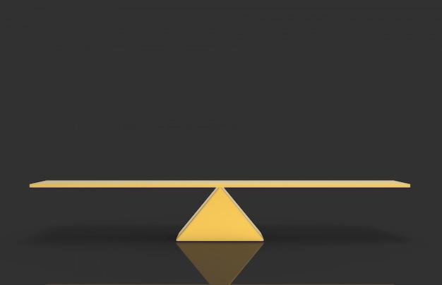 3d-weergave. de lege lege gouden schaal van het driehoekssaldo met het knippen van weg op donkergrijs.