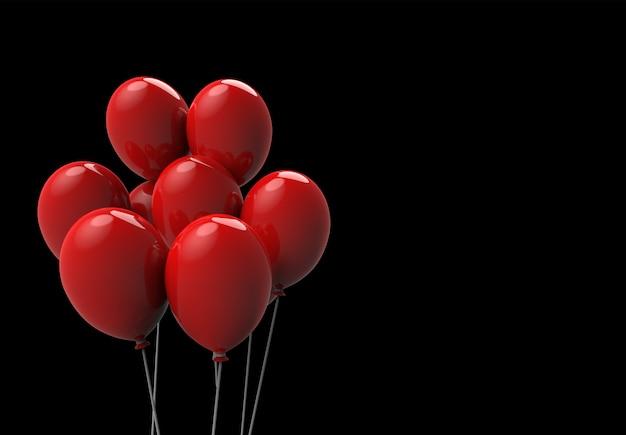 3d-weergave drijvende grote rode ballonnen op zwarte achtergrond. horror halloween-objecten concept