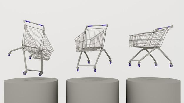 3d-weergave. drijvende karren op een grijze achtergrond. concept van aan- en verkoop