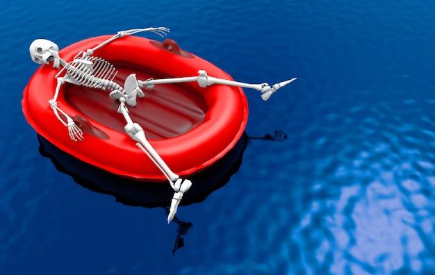 3d-weergave een menselijk skelet bot liggend op rode reddingsboot alleen op blauwe waterspiegel achtergrond.