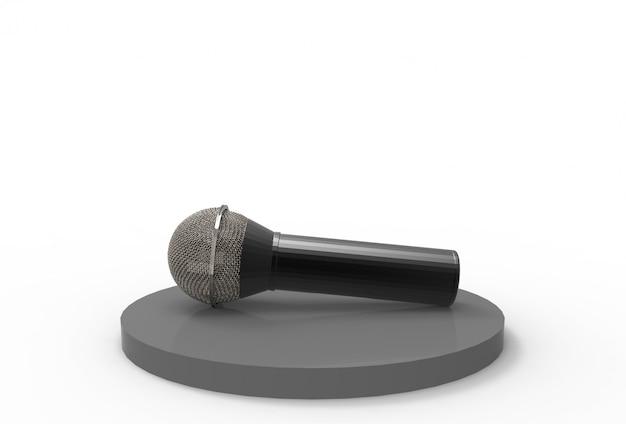 3d-weergave. een microfoon op zwart podium met grijze exemplaarruimte