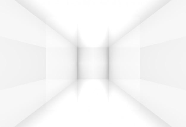 3d-weergave. eenvoudige moderne witte kubusdoos hoekkamer vierkante muur.