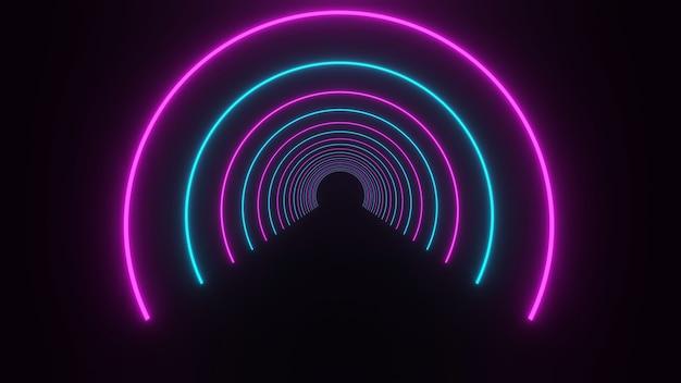 3d-weergave, gloedlijnen, tunnel, neonlichten, virtuele realiteit, abstracte achtergronden, bolportaal, boog, helder roze blauw spectrum, lasershow