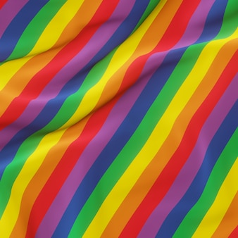 3d-weergave. golvende regenboogvlag. lgbtq-kleur.