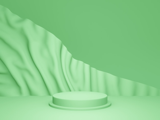 3d-weergave. groen podium met golfde achtergrond