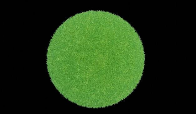 3d-weergave. groene grasbal op een zwarte achtergrond.