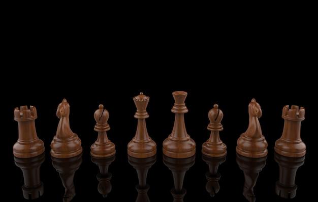 3d-weergave houten schaakset verzamelteam op zwart. teamwerk.