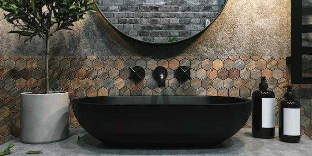 3d-weergave. interieur van een moderne badkamer met zeshoekige bruine en grijze tegels aan de muur.