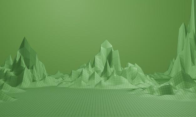 3d-weergave. laag poly bergrooster. groen topografisch draadframe landschap.