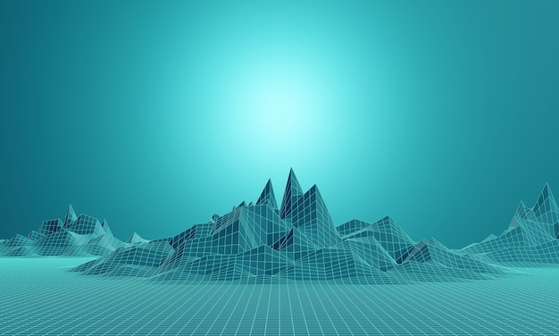 3d-weergave. laag poly bergrooster. groenachtig blauw topografisch landschap.