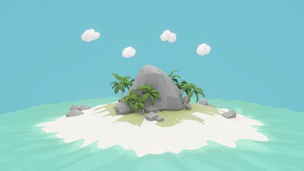 3d-weergave. laag veelhoekig eiland. avontuur ontspannen concept