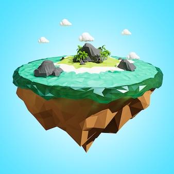 3d-weergave. laag veelhoekig eiland. avontuur ontspannen concept.