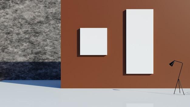 3d-weergave. lege betonnen kamer en oude muur.