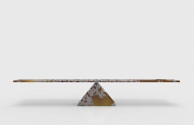 3d-weergave. lege lege rustieke het saldoschaal van de metaaldriehoek met het knippen van weg op grijs.