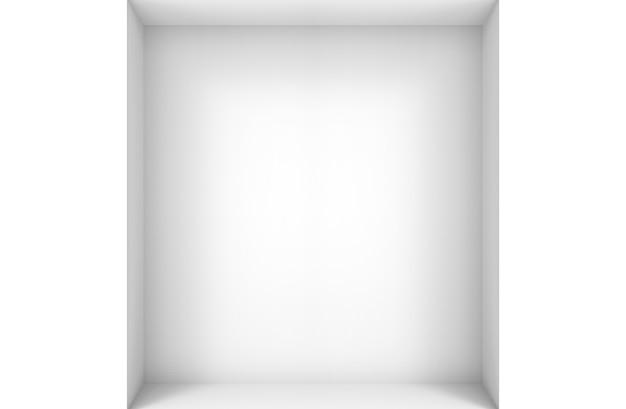 3d-weergave. lege moderne eenvoudige minimale witte hoek kamer vak muur ontwerp achtergrond.