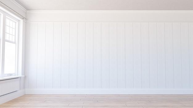 3d-weergave. lege witte kamer.