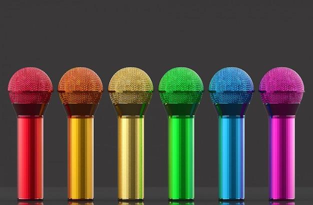 3d-weergave. lgbt regenboog kleur microfoon rij op grijze muur