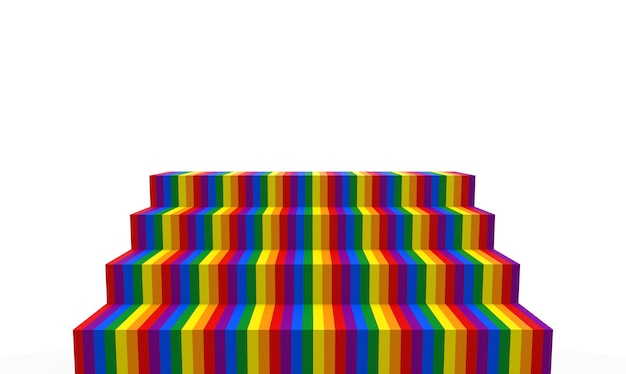 3d-weergave. lgbt regenboog kleurentrap op witte kopie ruimte muur achtergrond.