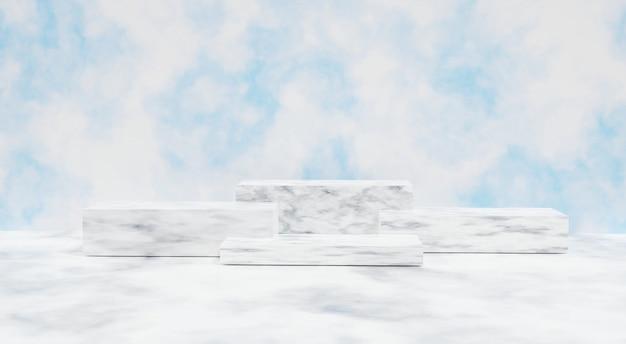 3d-weergave. marmeren kubusplank op cementmuur voor cosmetica of een ander product