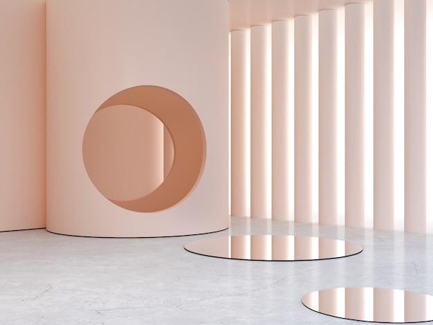 3d-weergave minimale interieurscène om schoonheid zomerproducten te tonen.