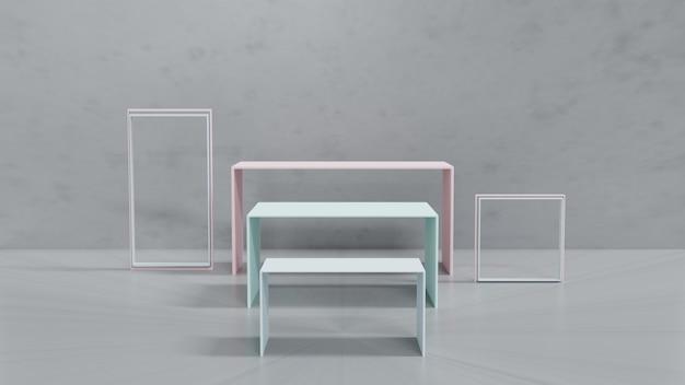 3d-weergave. minimale scènevertoning met geometrische vormen of podiumvertoningsproduct