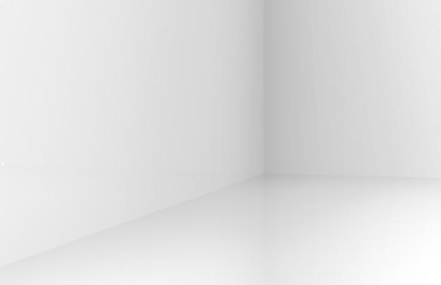 3d-weergave. modern eenvoudig minimalistisch lichtgrijs hoekdoosdoos muurontwerp.