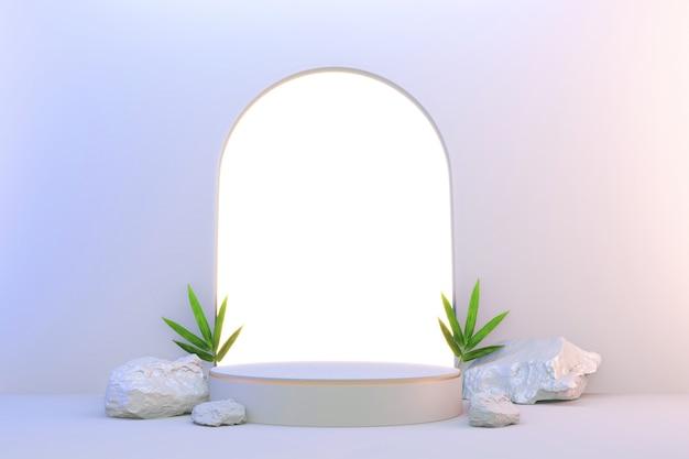 3d-weergave. modern minimalistisch wit en goud podium abstract cilinderdisplay.