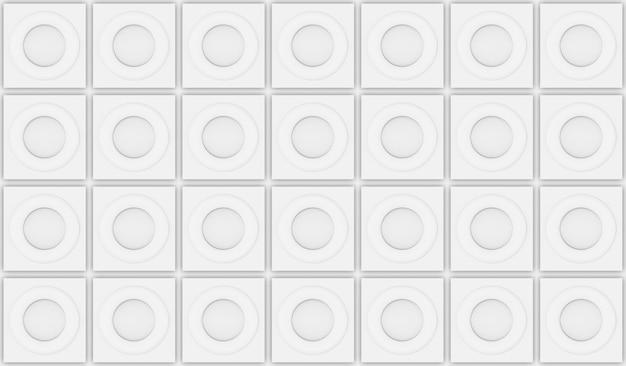 3d-weergave modern naadloos wit cirkelvormig patroon op het ontwerpachtergrond van de vierkante tegelmuur.