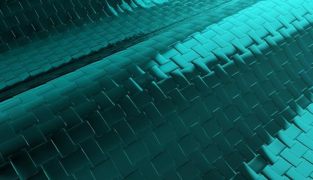 3d-weergave. moderne donkere lichtblauwe metalen vierkante tegels achtergrond.
