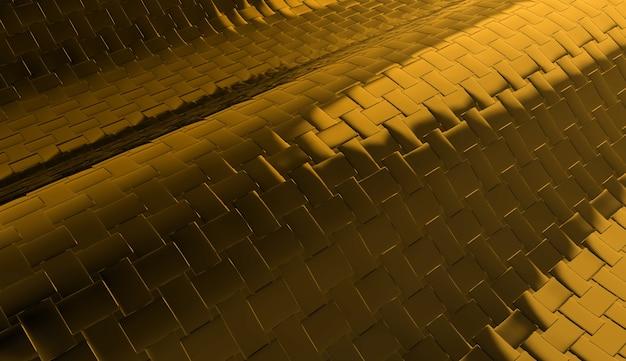 3d-weergave. moderne donkergeel gouden metalen vierkante tegels cruve achtergrond.