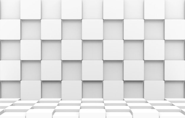 3d-weergave. moderne futuristische witte vierkante ronde kubusdozen stapelen muur en vloer de achtergrond van de ontwerpkunst.