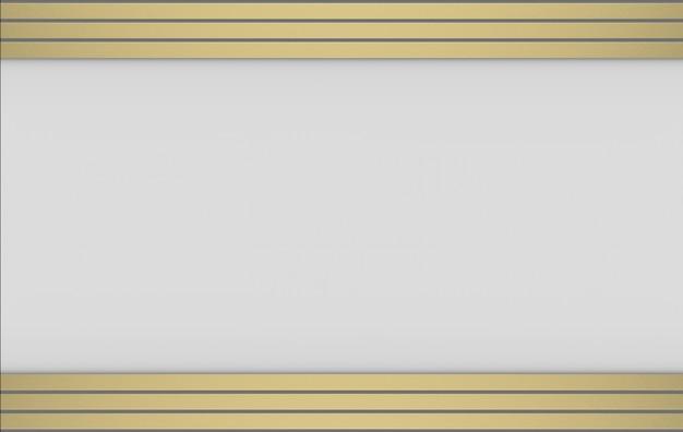 3d-weergave moderne luxe gouden rekstokpatroon op grijze achtergrond.