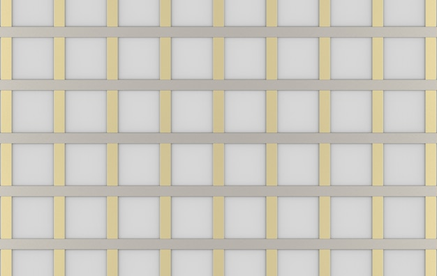 3d-weergave moderne luxe vierkant goud zilver raster lijn patroon ontwerp muur achtergrond.