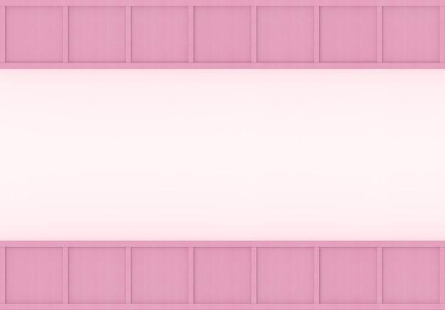 3d-weergave. moderne zoete zachte kleur roze houten vierkante doos bord ontwerp muur achtergrond.