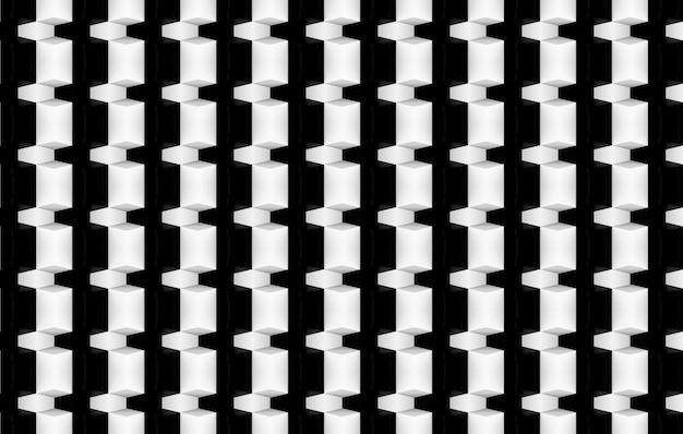 3d-weergave moderne zwart-witte geometrische muur ontwerp metselwerk achtergrond.