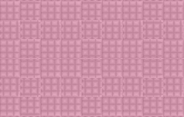 3d-weergave naadloze zoete zachte roze vierkante raster tegel muur achtergrond.