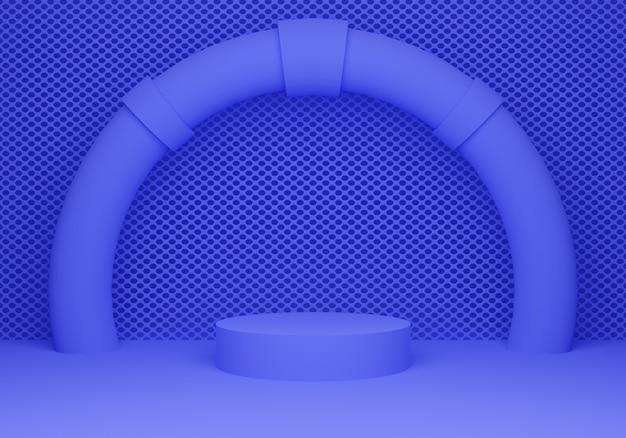 3d-weergave podium mockup in blauwe kleur