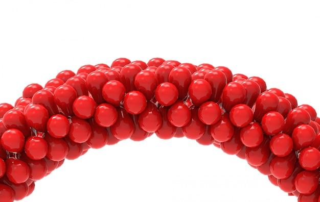 3d-weergave rode ballonnen curve poort met uitknippad geïsoleerd op wit.