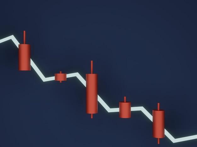 3d-weergave. rode kandelaar. verkoop signaal.