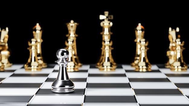 3d-weergave. schaakbordspel voor leadership concepts.