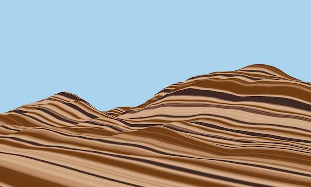3d-weergave. sedimetaire berg. gelaagd topografisch terrein. deformatie rots.