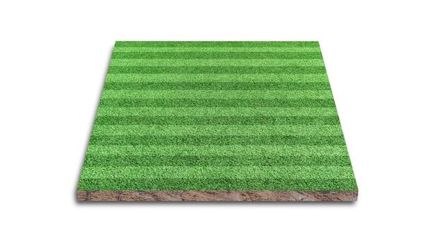 3d-weergave. streep van gazon voetbalveld, groen gras voetbalveld, geïsoleerd op een witte achtergrond.