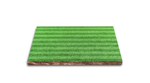 3d-weergave. streep van voetbal gazon veld, groen gras voetbalveld, geïsoleerd op een witte achtergrond.